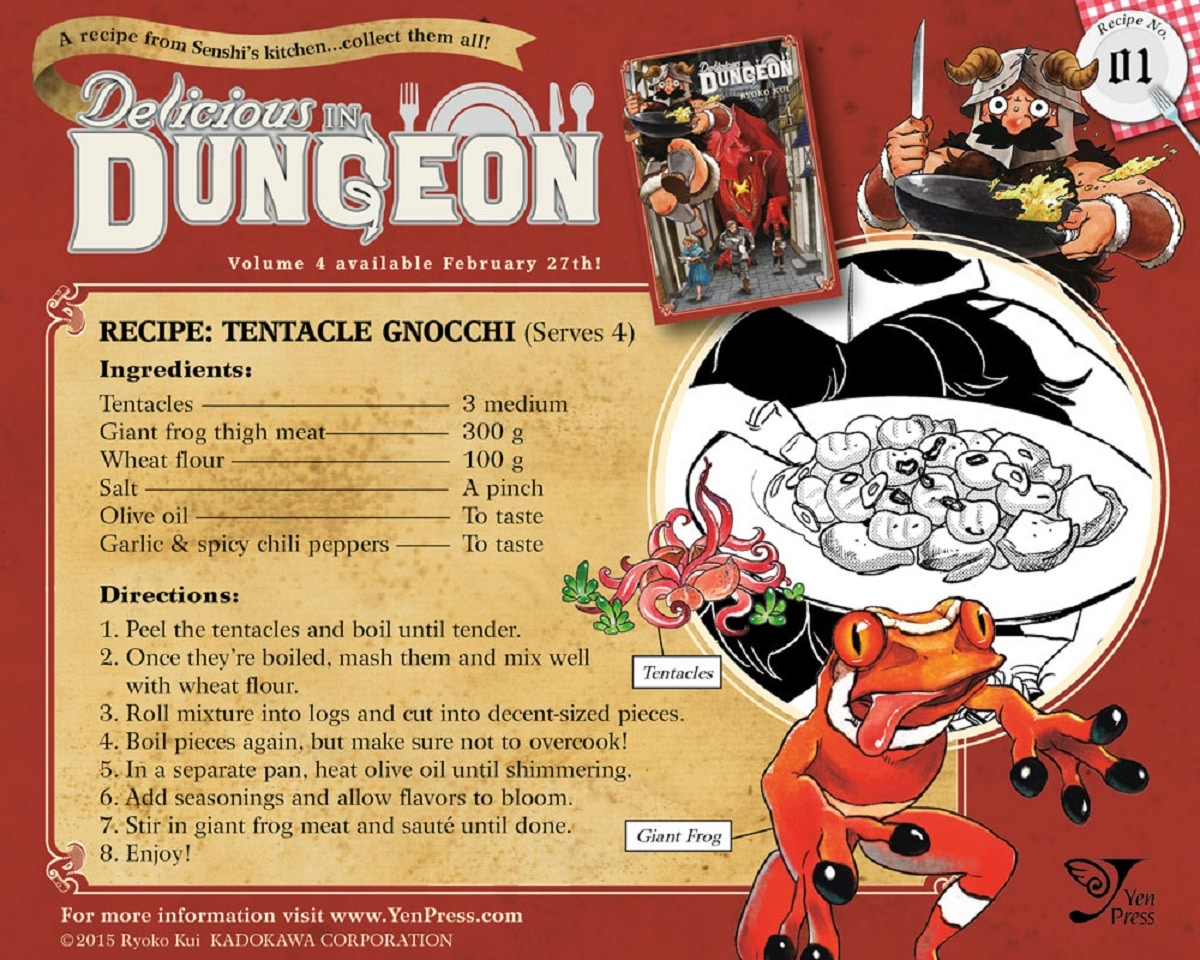 Tentacle Gnocchi in Delicious in Dungeon. Pic credit: Yen Press.