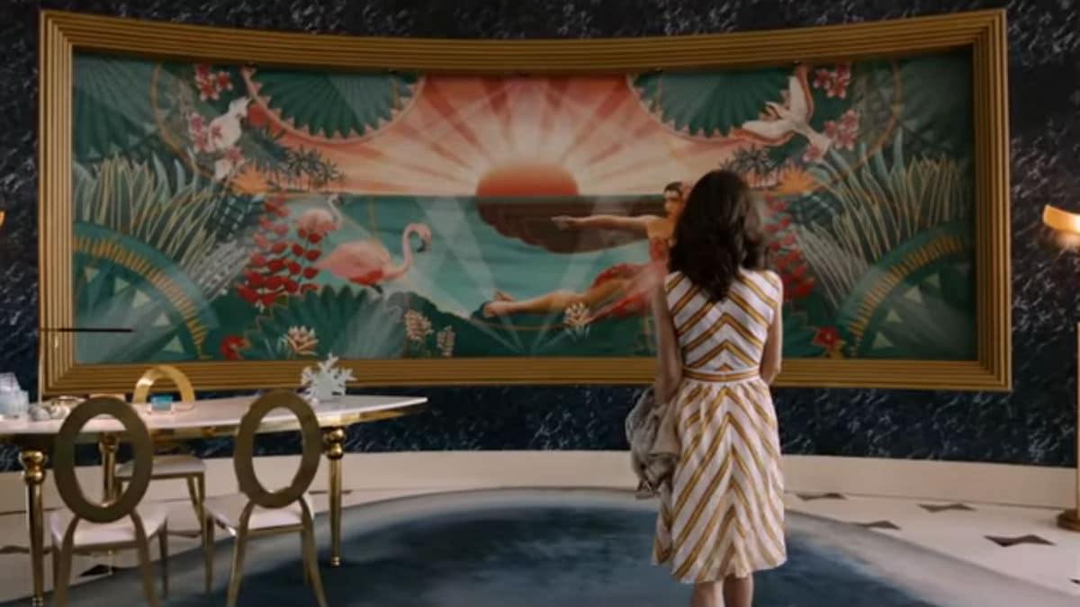 Grand Hotel scene with Alicia in the lobby.