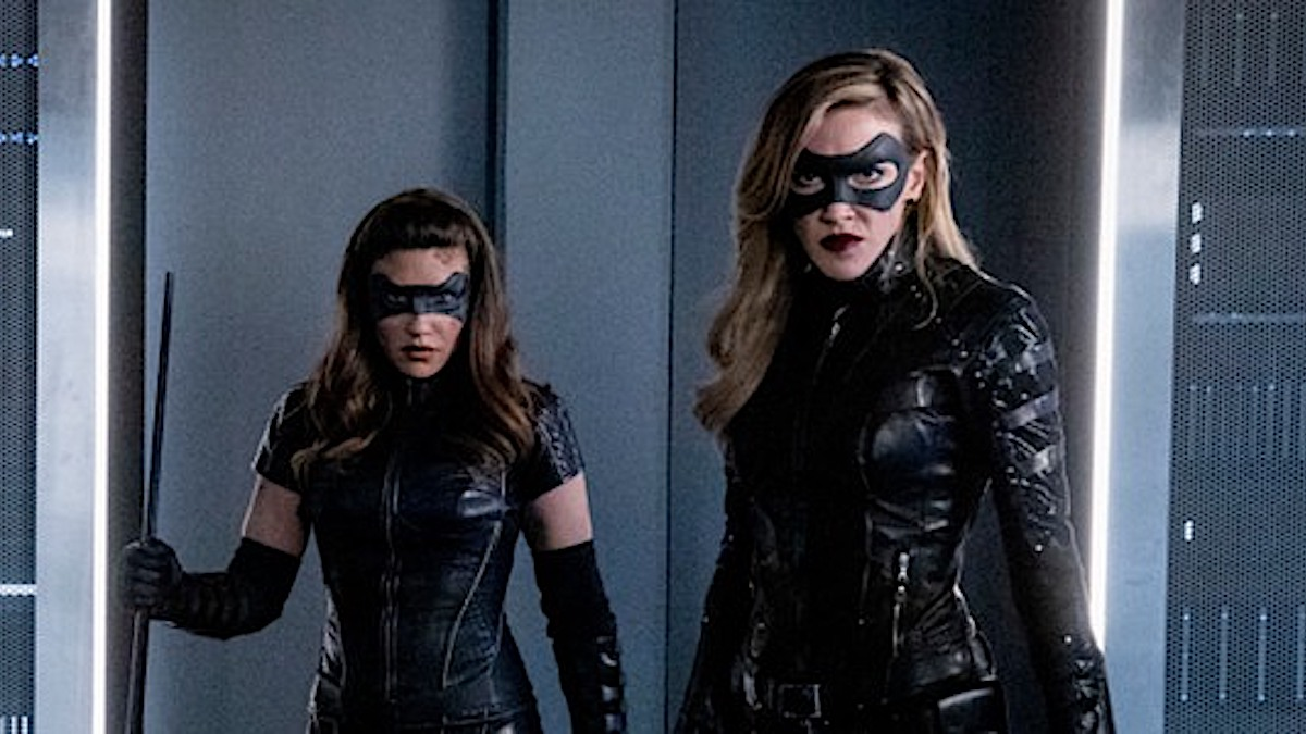 Juliana Harkavy as Dinah Drake/Black Canary and Katie Cassidy as Laurel Lance/Black Siren on Arrow