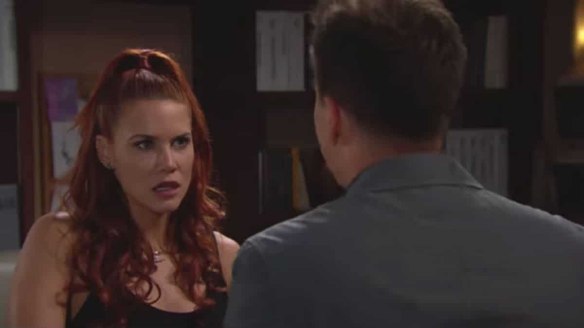 Sally talking to Wyatt on The Bold and the Beautiful.