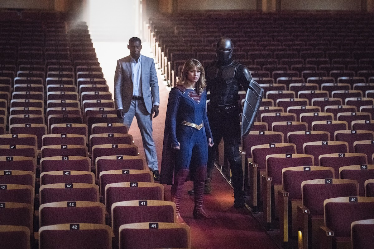 Melissa Benoist as Supergirl, David Harewood as J'onn J'onnz, and Mehcad Brooks as James Olsen/Guardian on Supergirl.