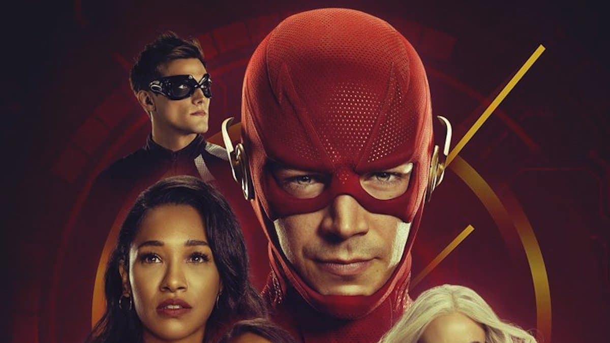 Hartley Sawyer as Elongated Man, Candice Patton as Iris West, and Grant Gustin as The Flash in The Flash