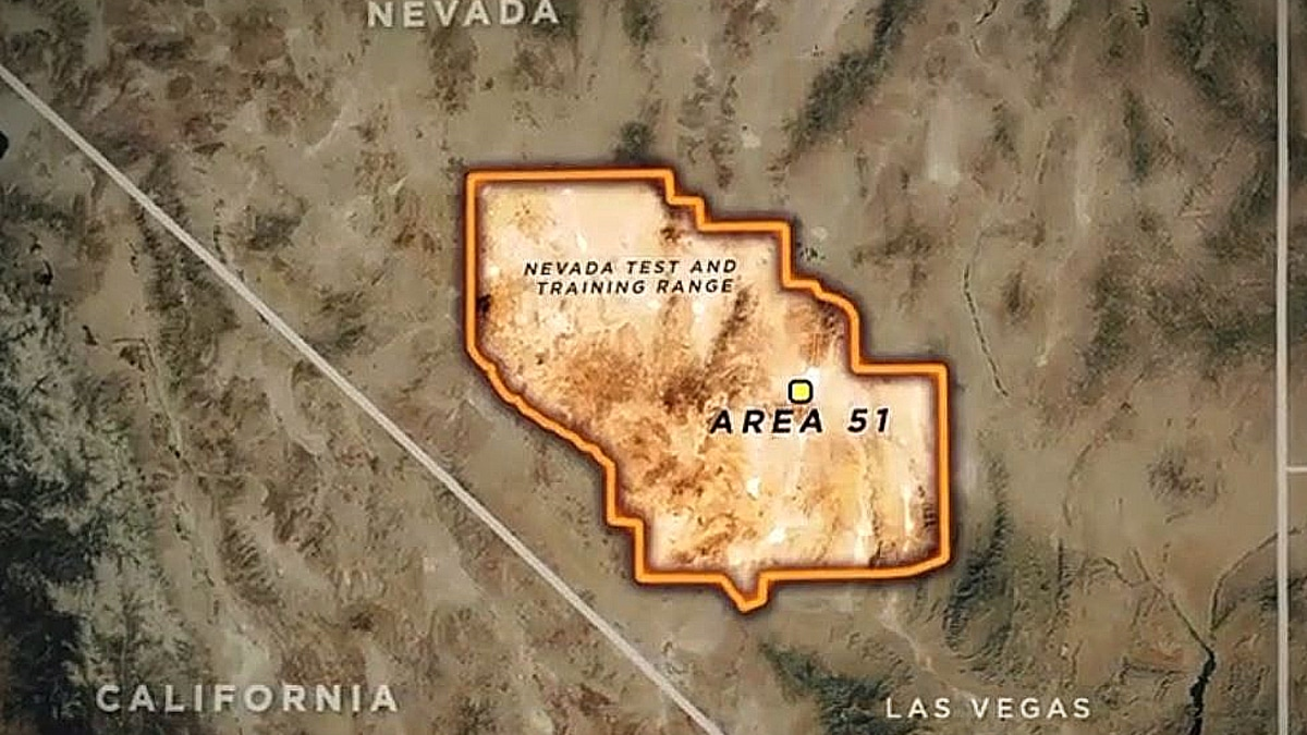 A still from tonight's Area 51 of the map where the air force has secretive operations and clearly marked do not enter signs. Pic credit: The CW/Morningstar Entertainment