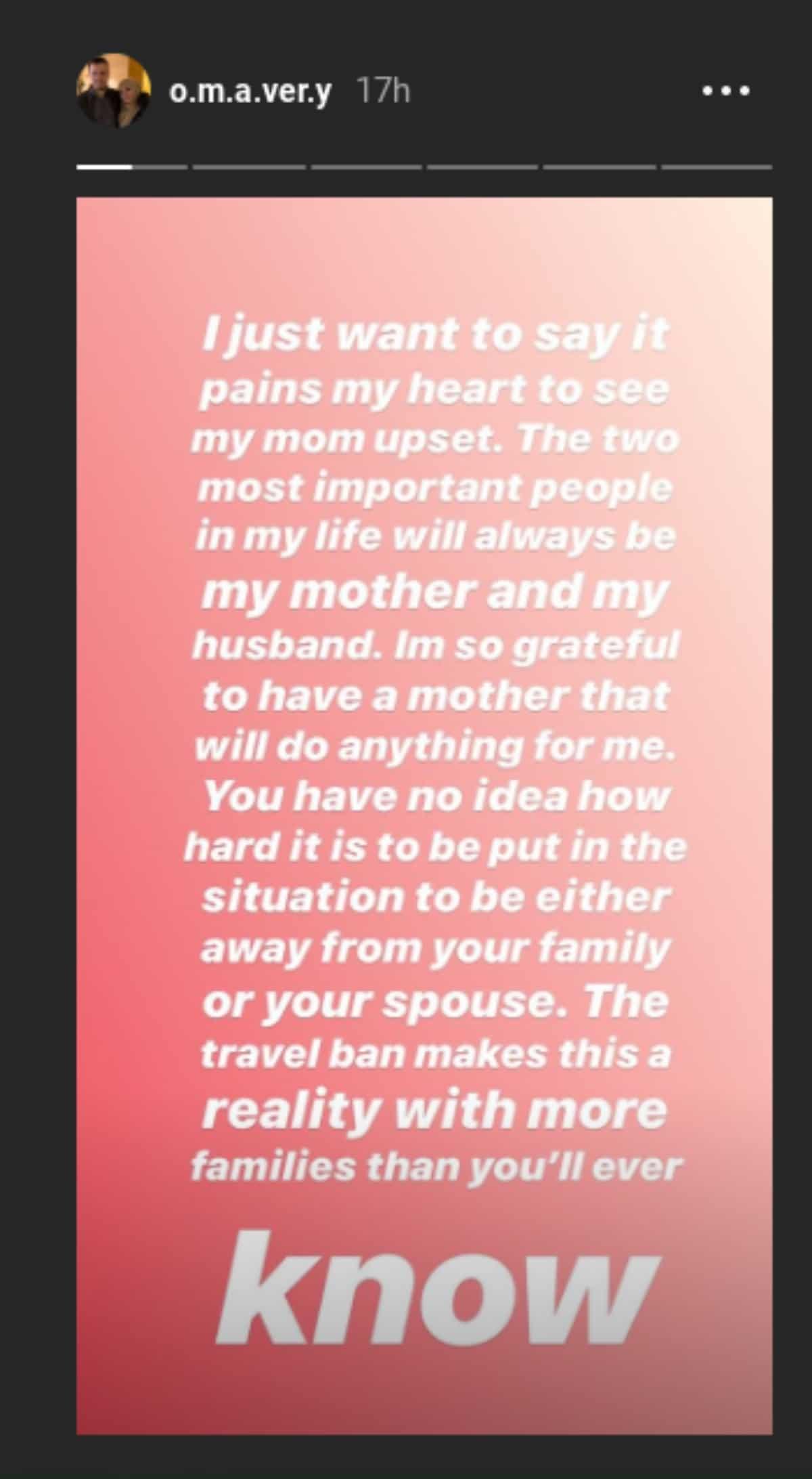 Avery Mills' Instagram story