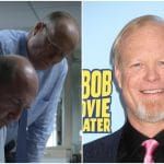 Bill Fagerbakke in Unbelievable on left, Fagerbakke at the world premiere of The SpongeBob Movie - Sponge Out of Water 3D on right.