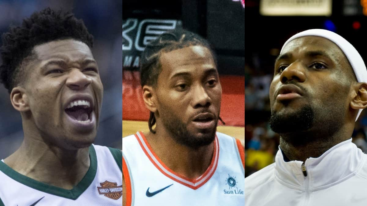 Giannis Antetokounmpo Kawhi Leonard and LeBron James