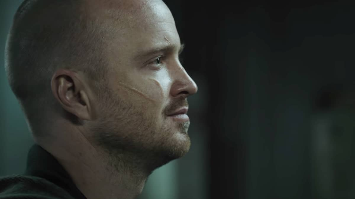 Aaron Paul as Jesse Pinkman talking to mystery person off-screen in El Camino