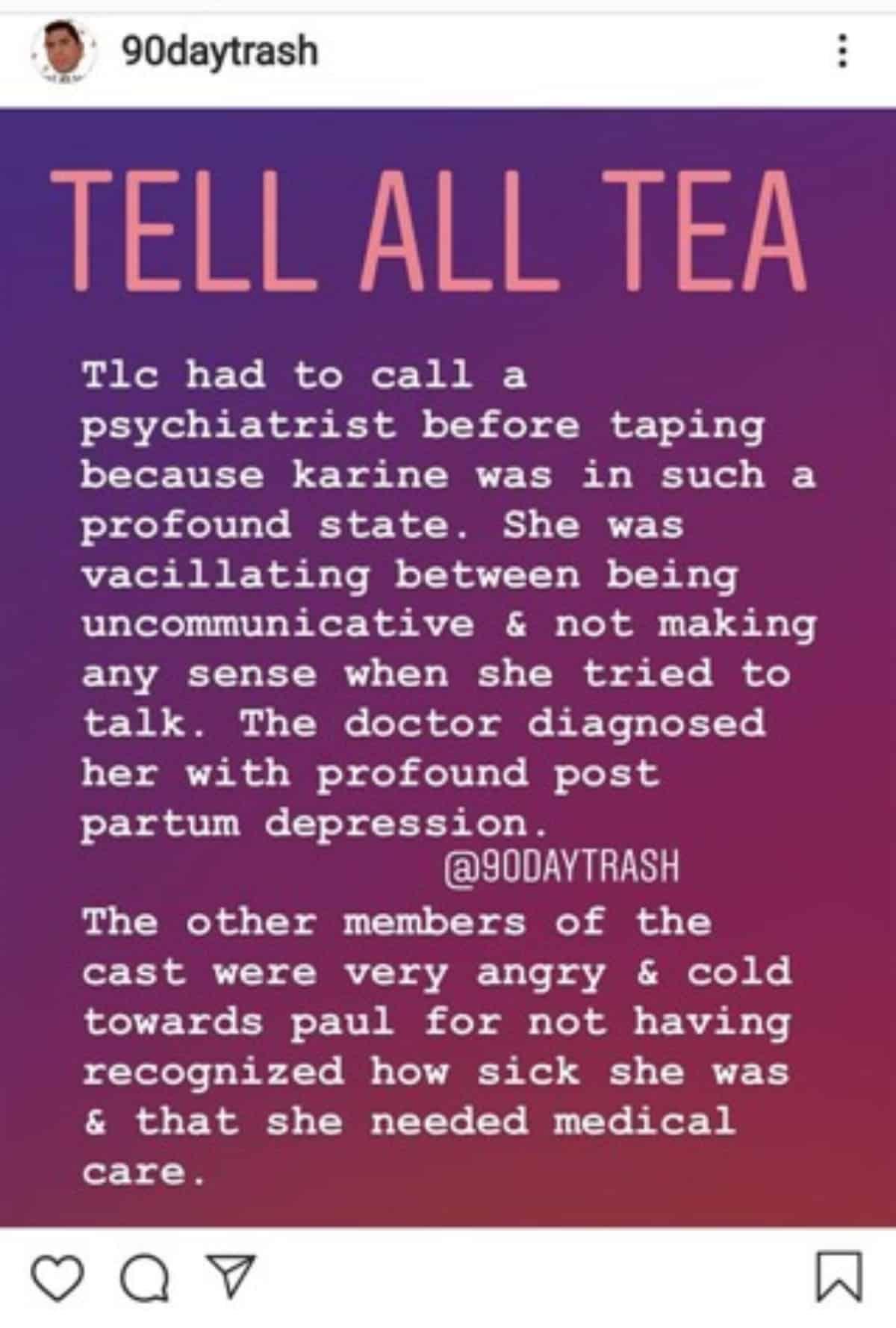 Karine postpartum depression report on Instagram