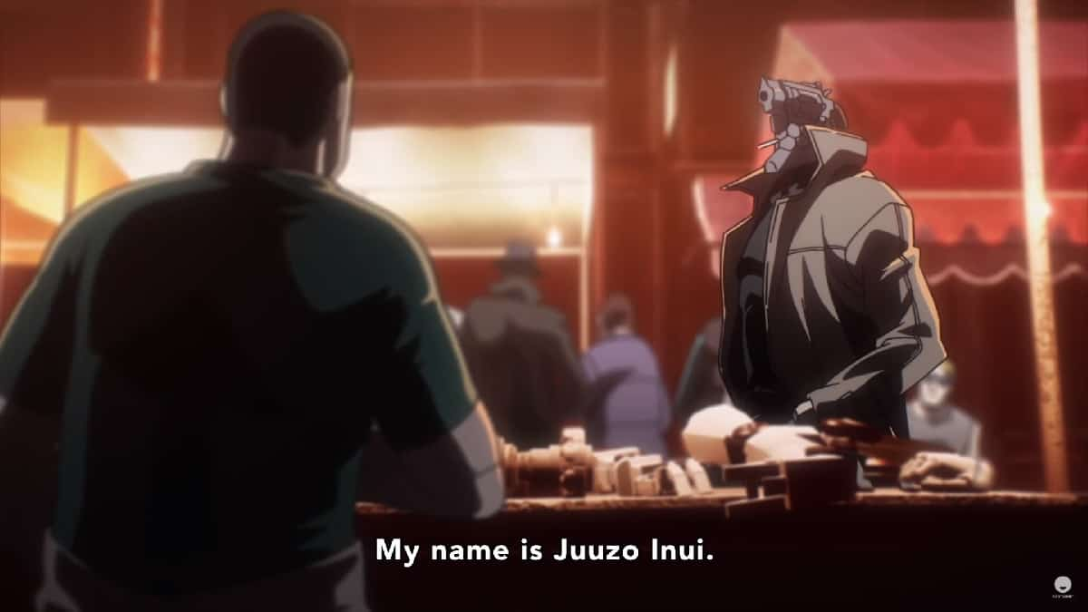 His name is Juuzo Inui and he has a gun for a head