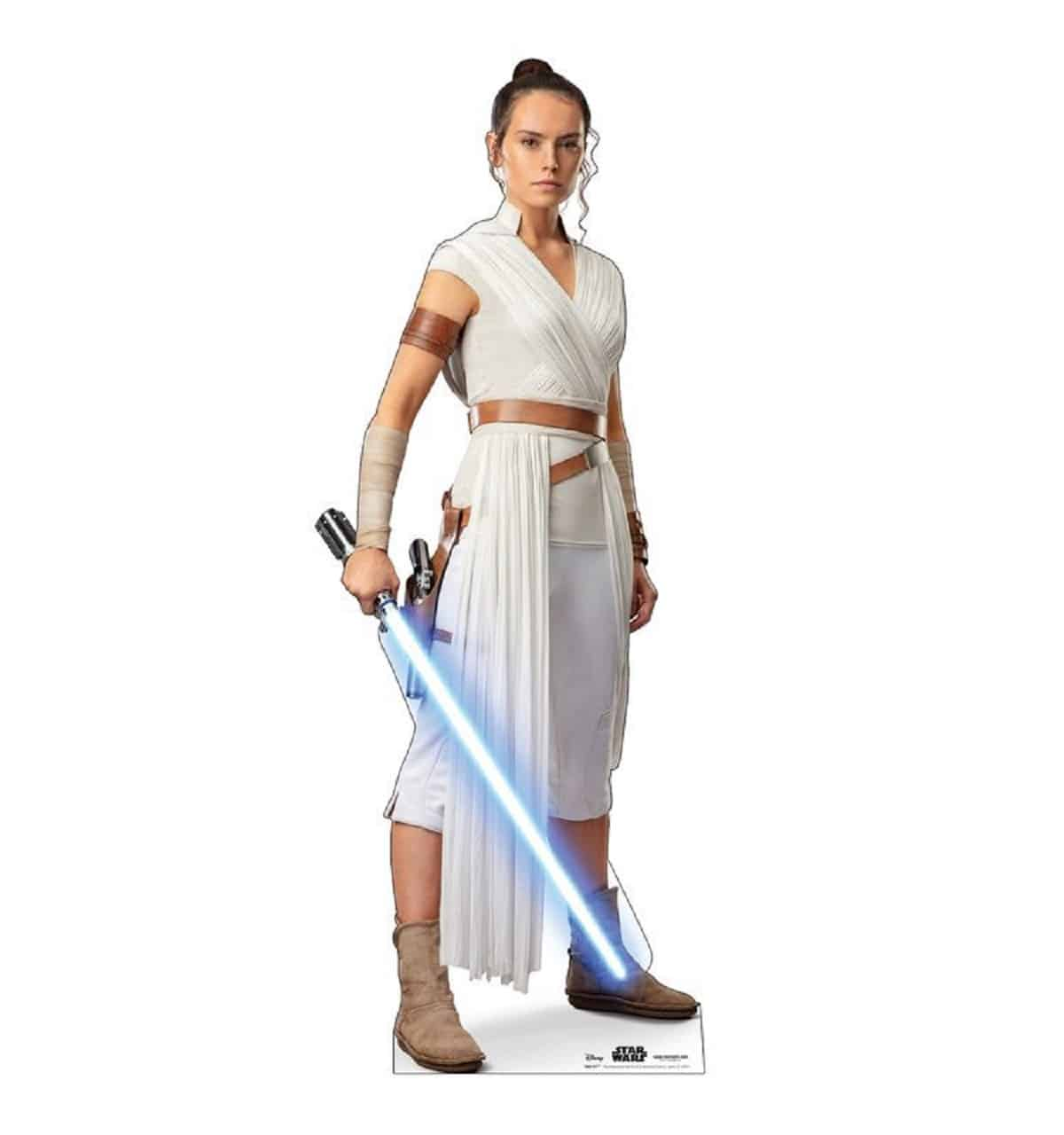 Rey armed with a lightsaber