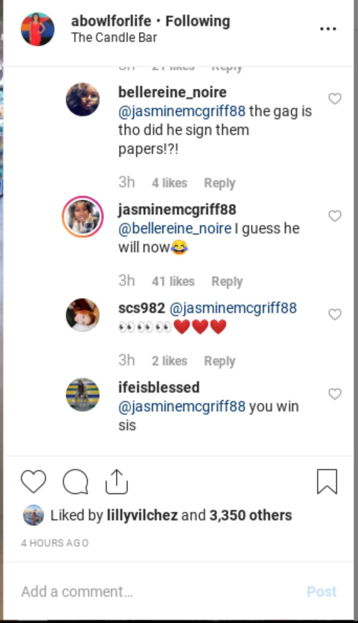 Jasmine's Instagram comments