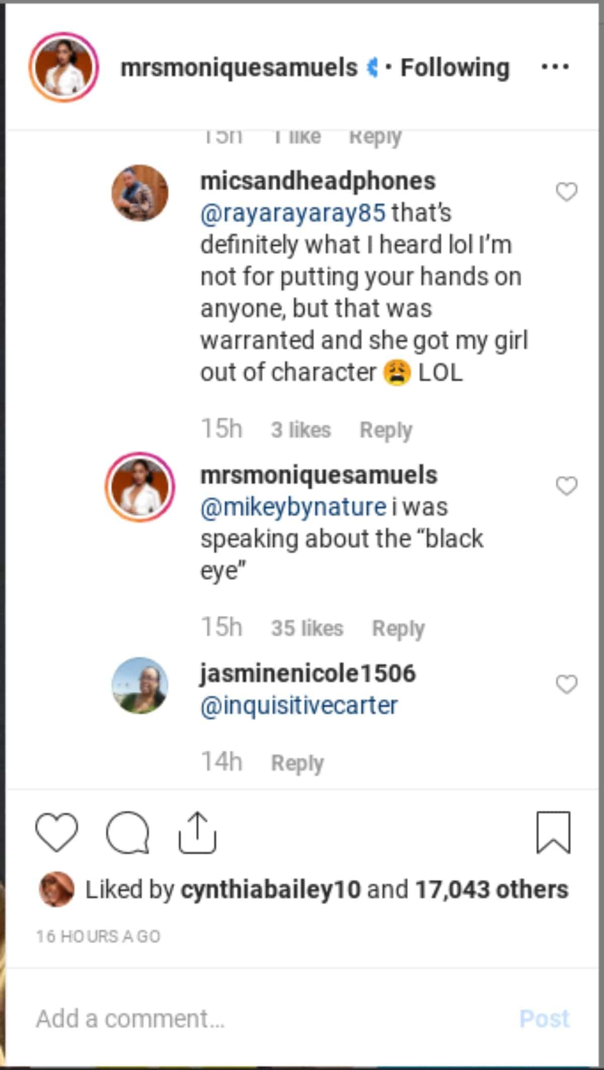 Monique's comment on Instagram