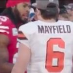 richard sherman and baker mayfield meet before the mnf game coin toss