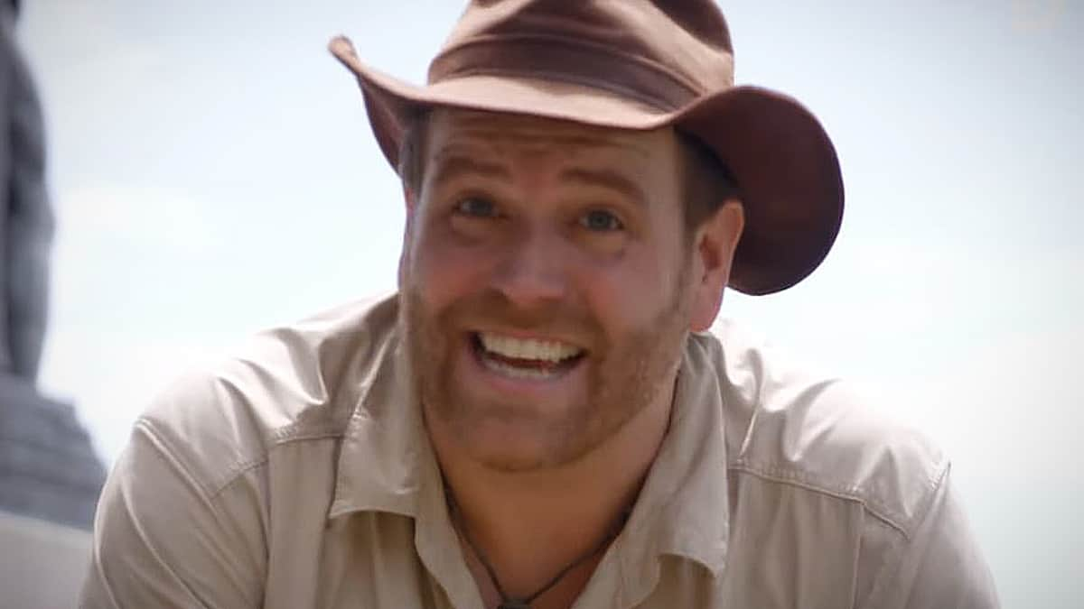 Josh Gates the moment he hits something under the dirt where The Secret poem told him to look. Pic credit: Discovery