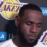 lebron james of the lakers speaks to the media about daryl morey tweet