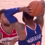 knicks forward marcus morris tries to free up space against the wizards justin anderson