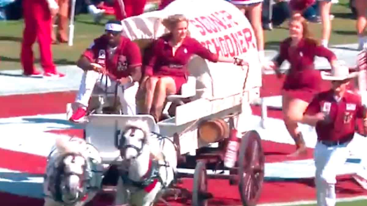 the sooner schooner tips over during an on field touchdown celebration