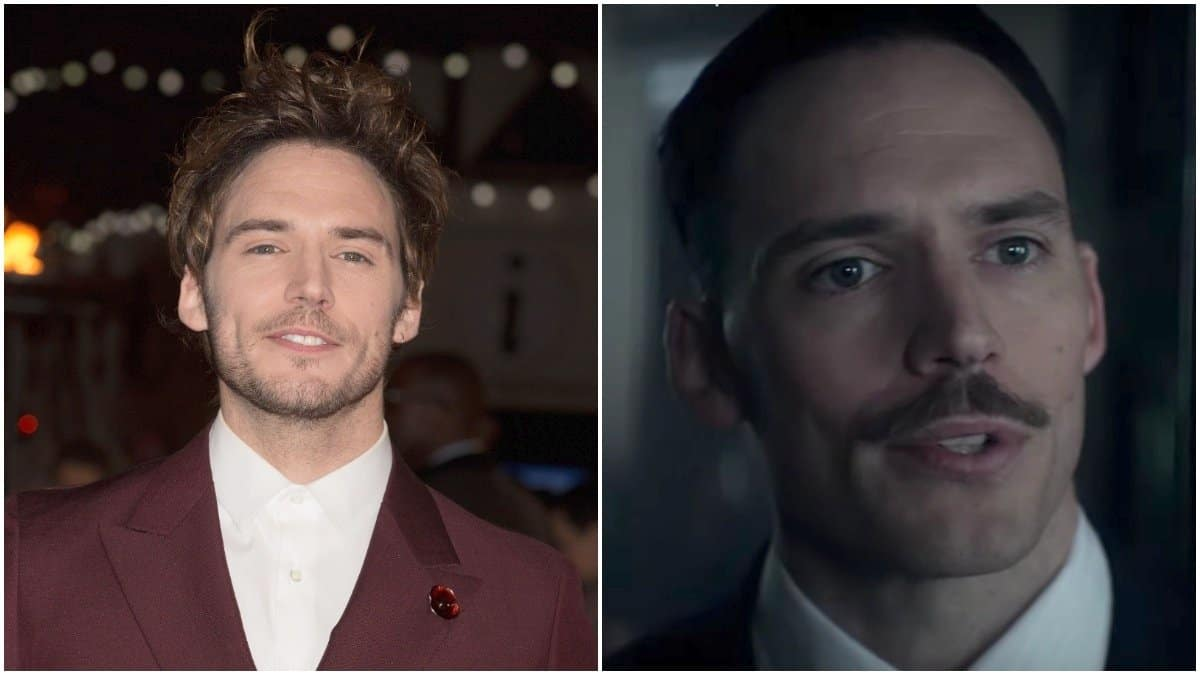 Sam Clafin at 'The Hunger Games: Mockingjay Part 1' Premiere on left, actor as Oswald Mosley on Peaky Blinders on right