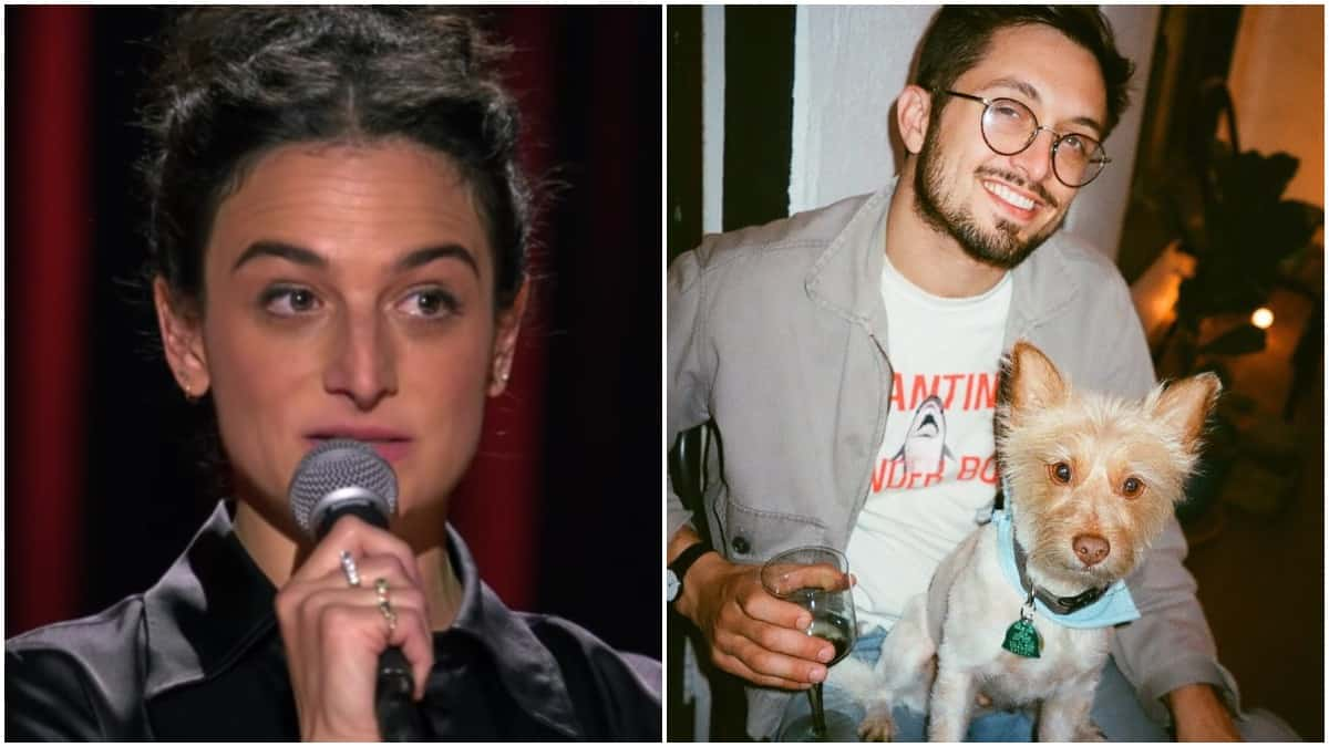 Jenny Slate from Stage Fright on left, Dean Fleischer-Camp with his dog on right