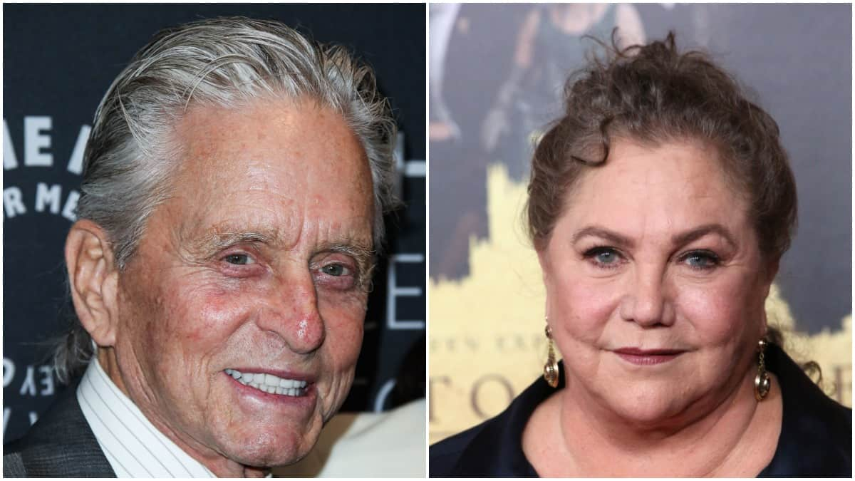 Michael Douglas at A Paley Honors Luncheon on left, Kathleen Turner at the ''Downton Abbey'' New York Premiere on right