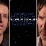 David Benioff and Dan Weiss between Rise of Skywalker poster