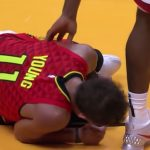 atlanta hawks guard trae young after rolling his ankle versus miami heat
