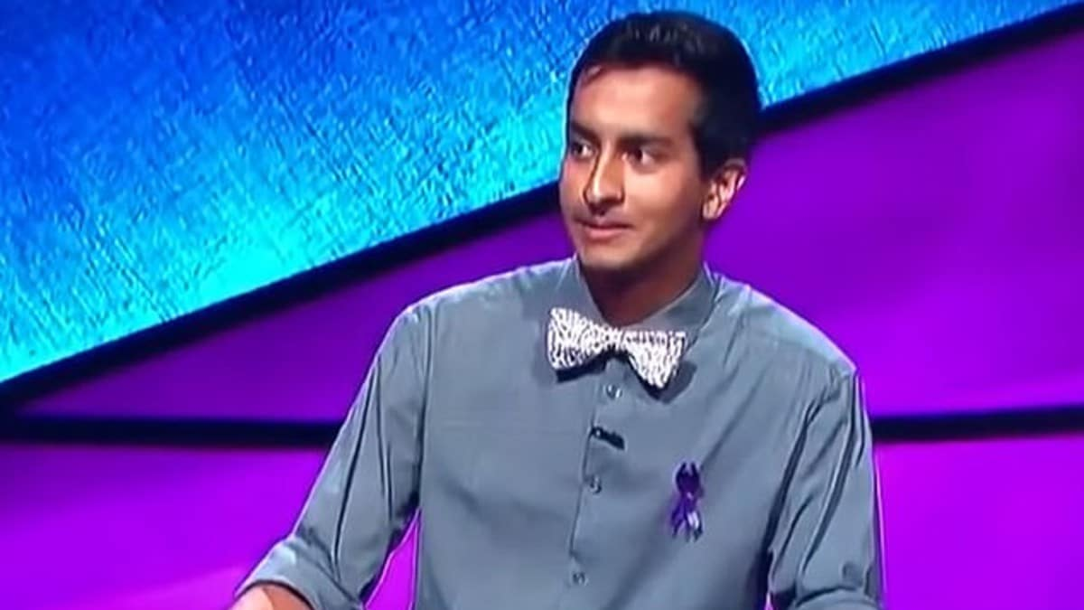 Dhruv Gaur in the final round on Jeopardy gives his answer
