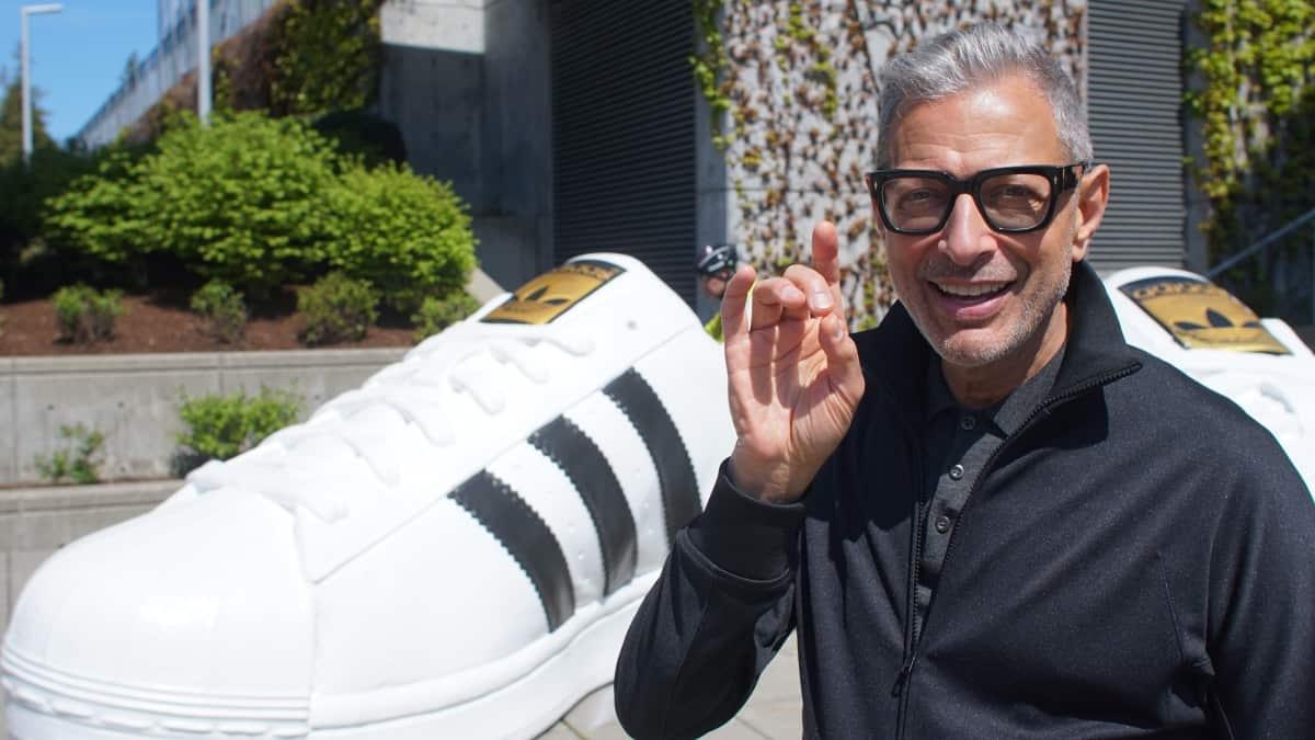 Jeff Goldblum with giant sneaker