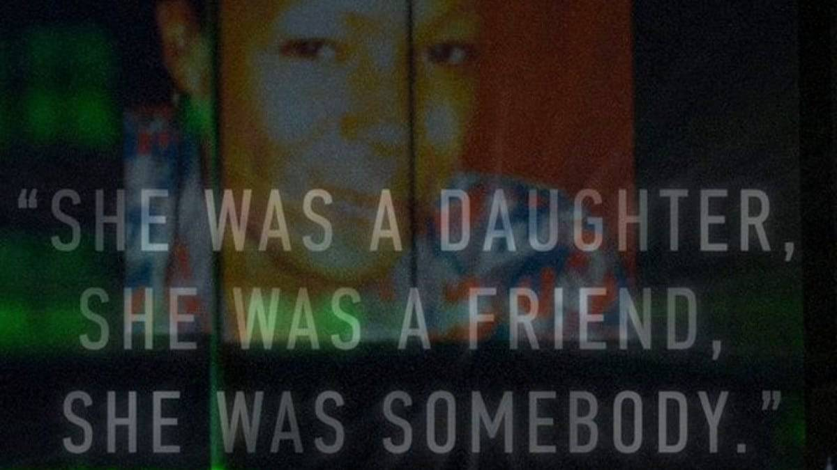 "Marlyn Allen before her death with text superimposed ""she was a daughter, she was a friend, she was somebody"""""