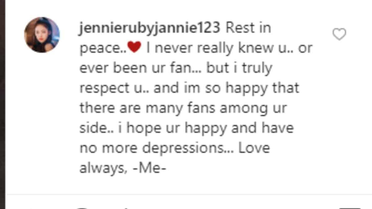 Instagram post sending condolences