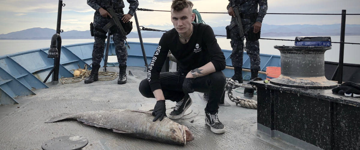 Sea Shepherd warrior Jack Hutton is 21-years-old and is part of this gripping true story. Pic credit: Nat Geo Channel.