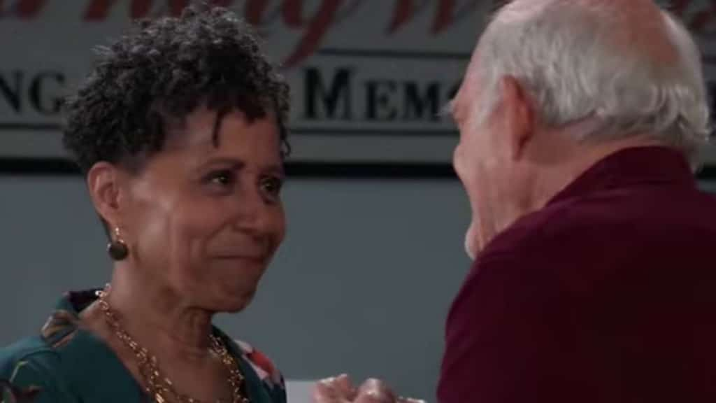 Vernee Watson and Max Gail as Stella and Mike on General Hospital.