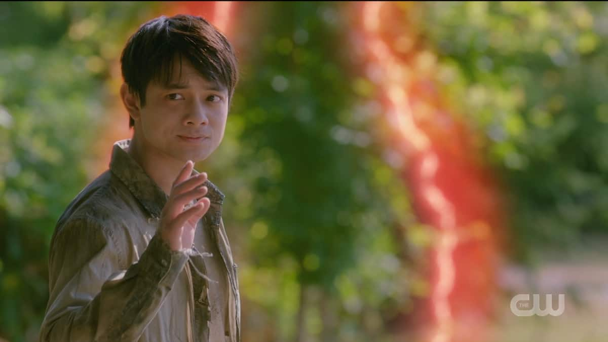 The ghost of Kevin Tran says goodbye to the Winchesters in Supernatural season 15. Pic credit: the CW