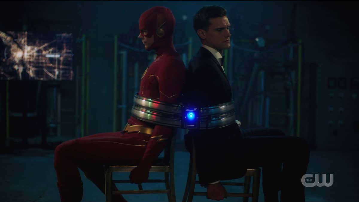 The Flash and Ralph Dibney captured by Bond villains. Pic credit: The CW
