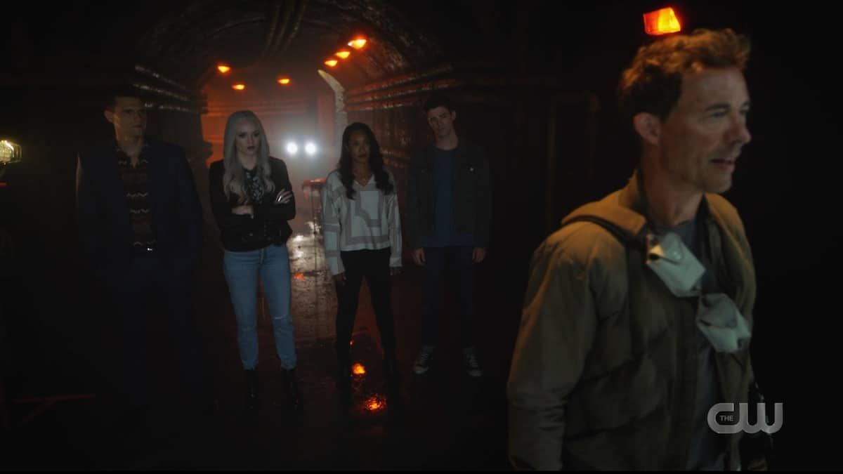 Ralph, Killer Frost, Iris, and Barry listen to Nash's plan to take down the Monitor. Pic credit: The CW