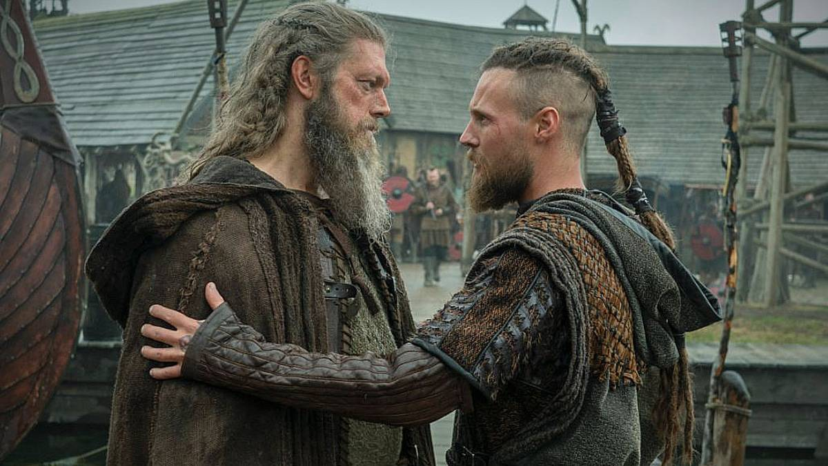 From left: Kjetill Flatnose (Adam Copeland) and Ubbe (Jordan Patrick Smith) in scene, Adam normally has very short hair. Pic credit: HISTORY.
