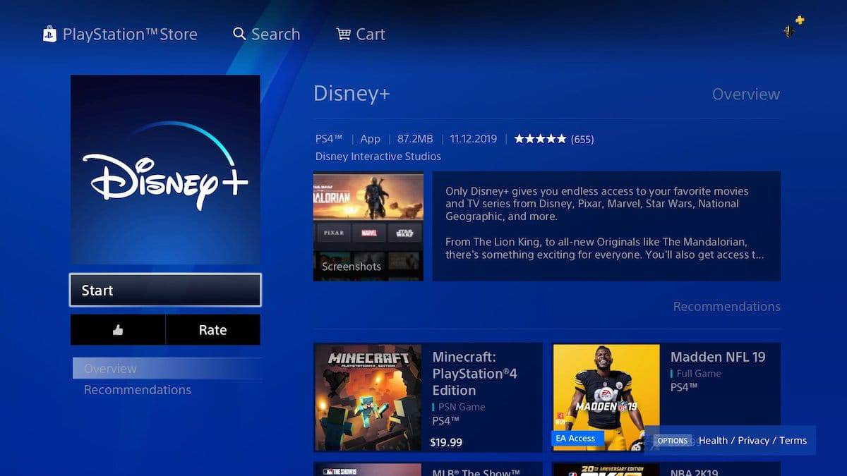 official disney plus at the ps4 playstation store