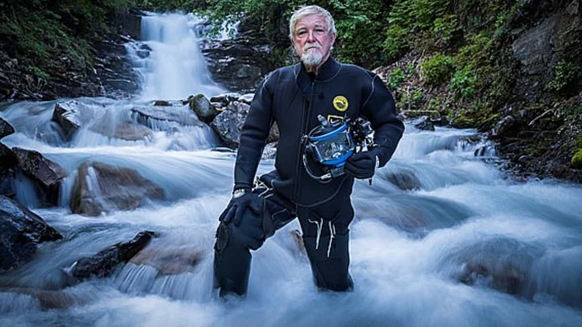 Fred can rappel like the best climber and dive too, #goals for getting older on Gold Rush: White Water. Pic credit: Discovery.