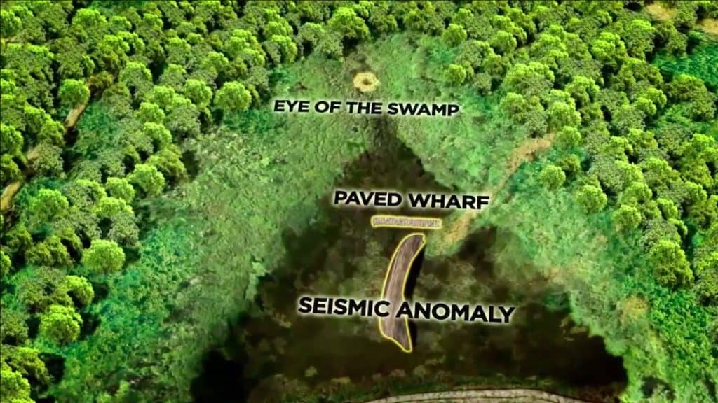 The three different target areas in the swamp