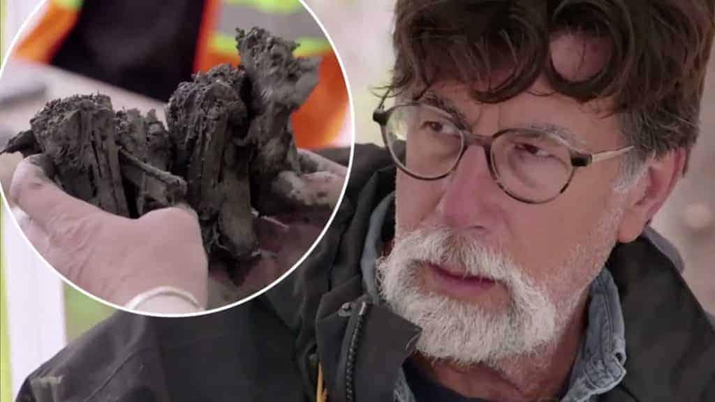 Rick Lagina and beams on The Curse of Oak Island