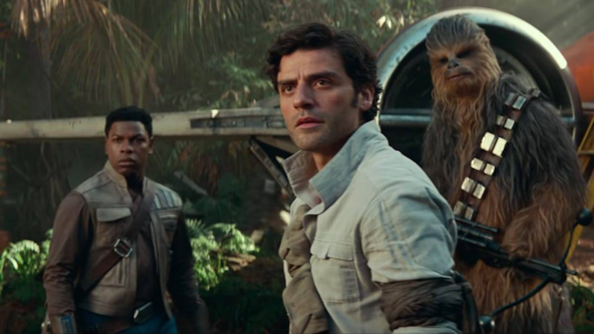 finn poe dameron and chewbacca in star wars the rise of skywalker