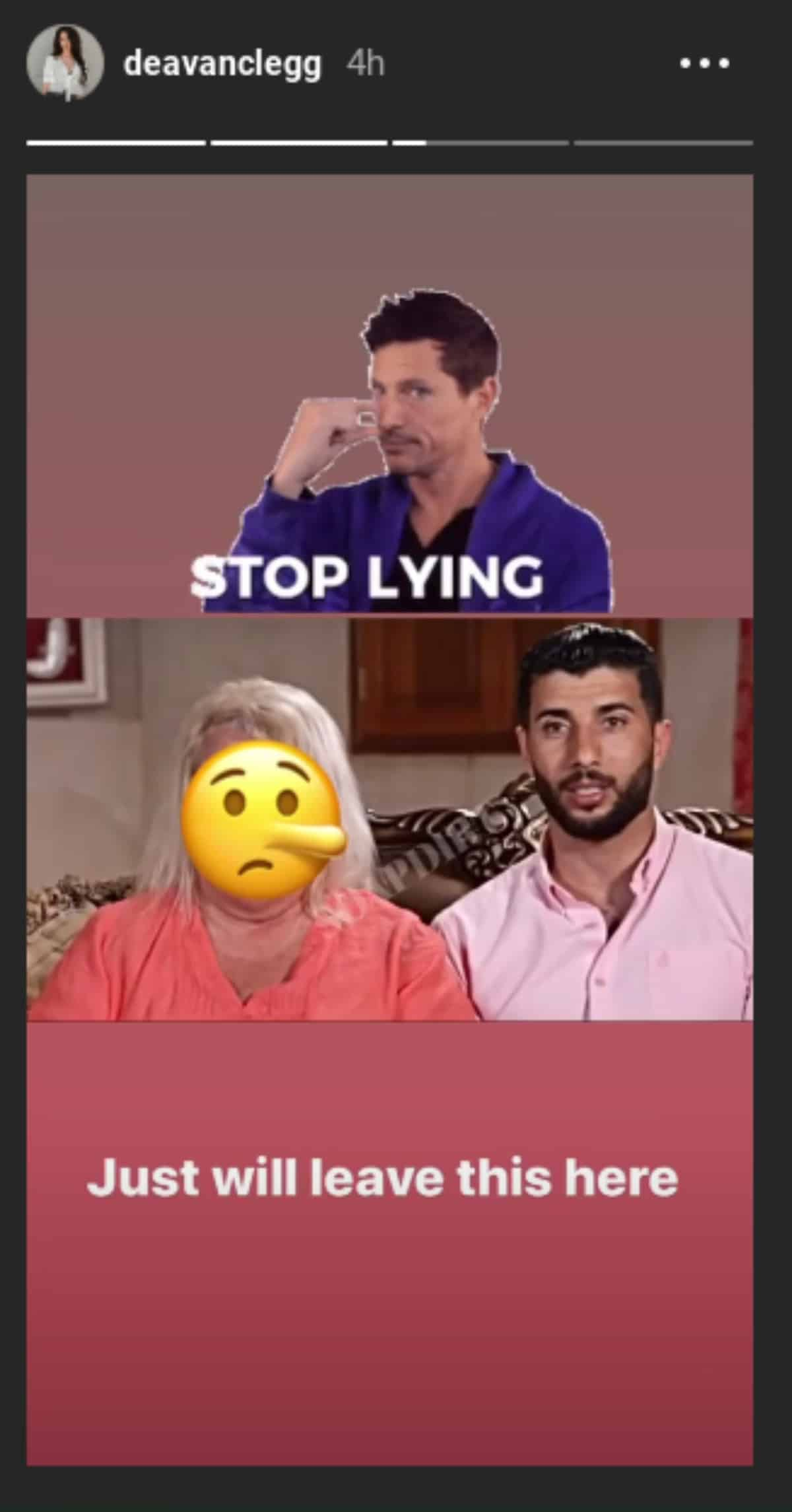 Stop lying post from Deavan Clegg's Instagram stories