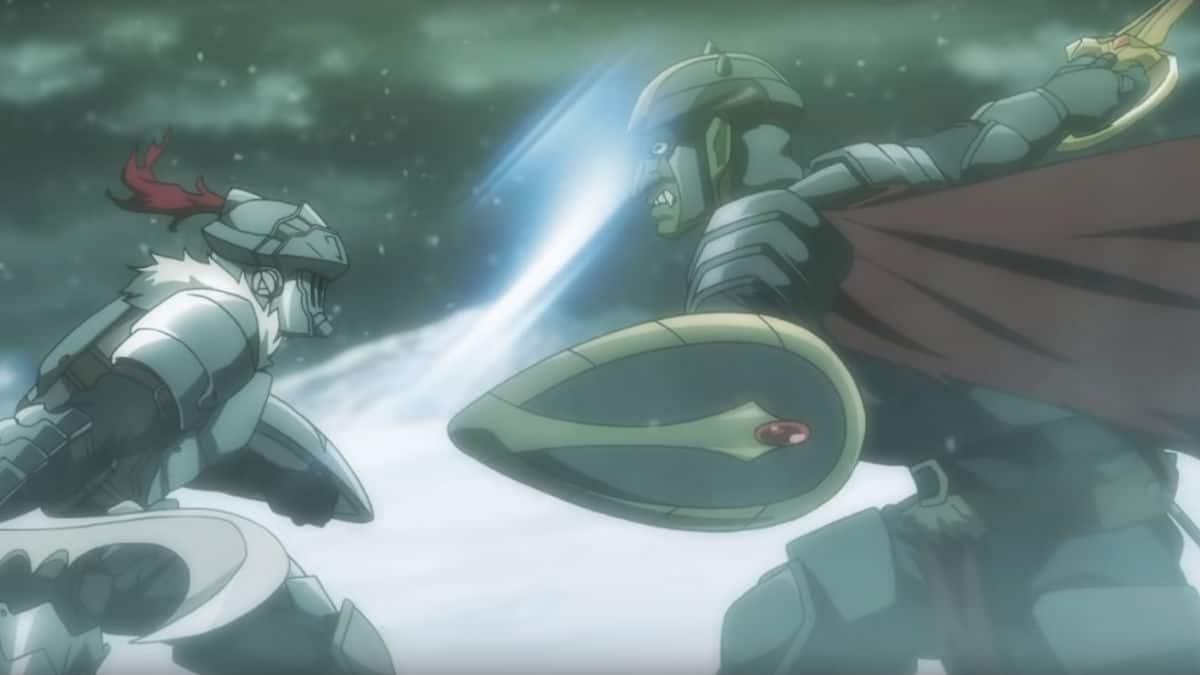 Goblin Paladin fighting Goblin Slayer in the Goblin Slayer: Goblin's Crown movie
