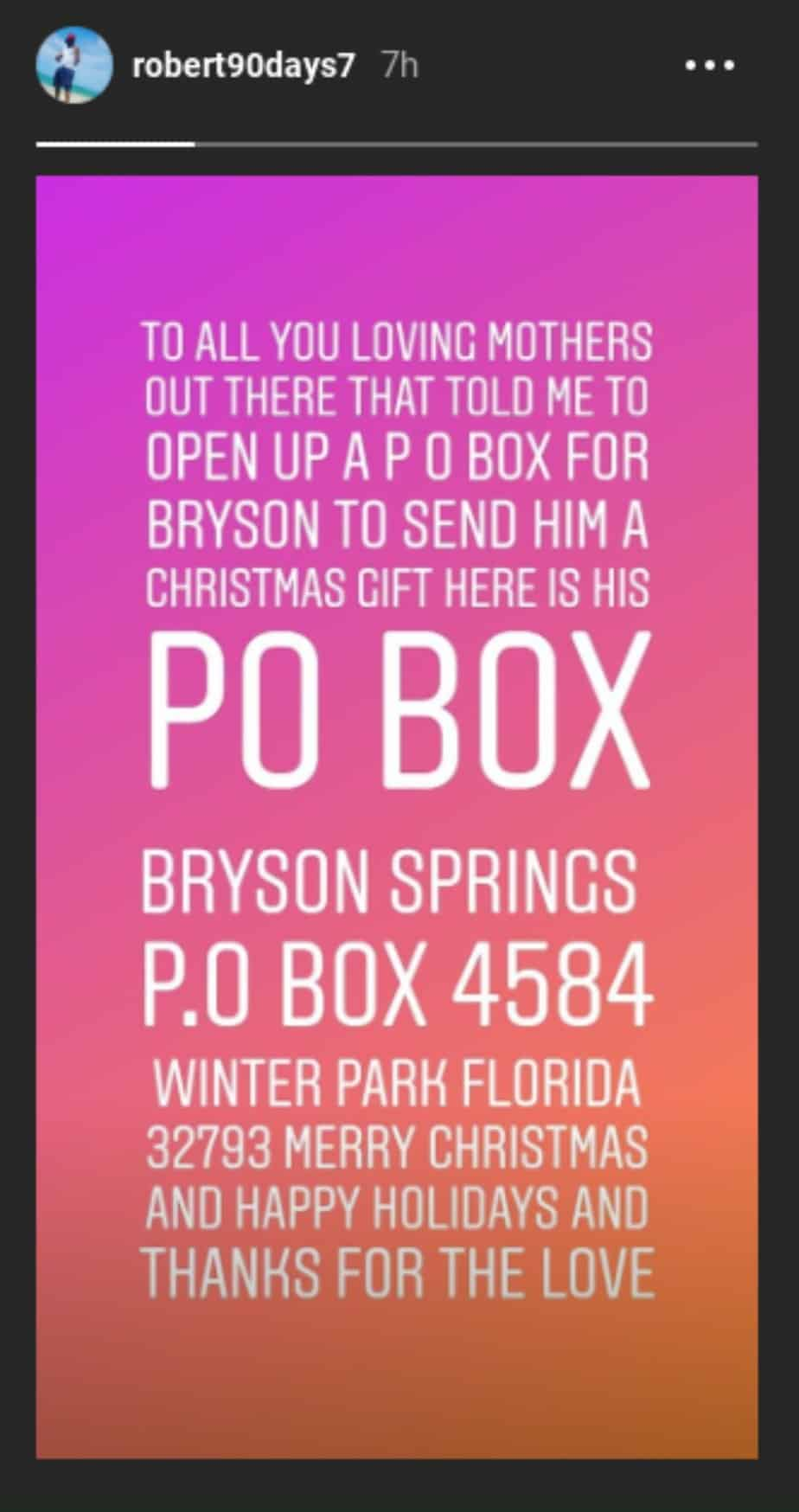 Robert shares his address so 90 Day Fiance fans can buy Bryson presents