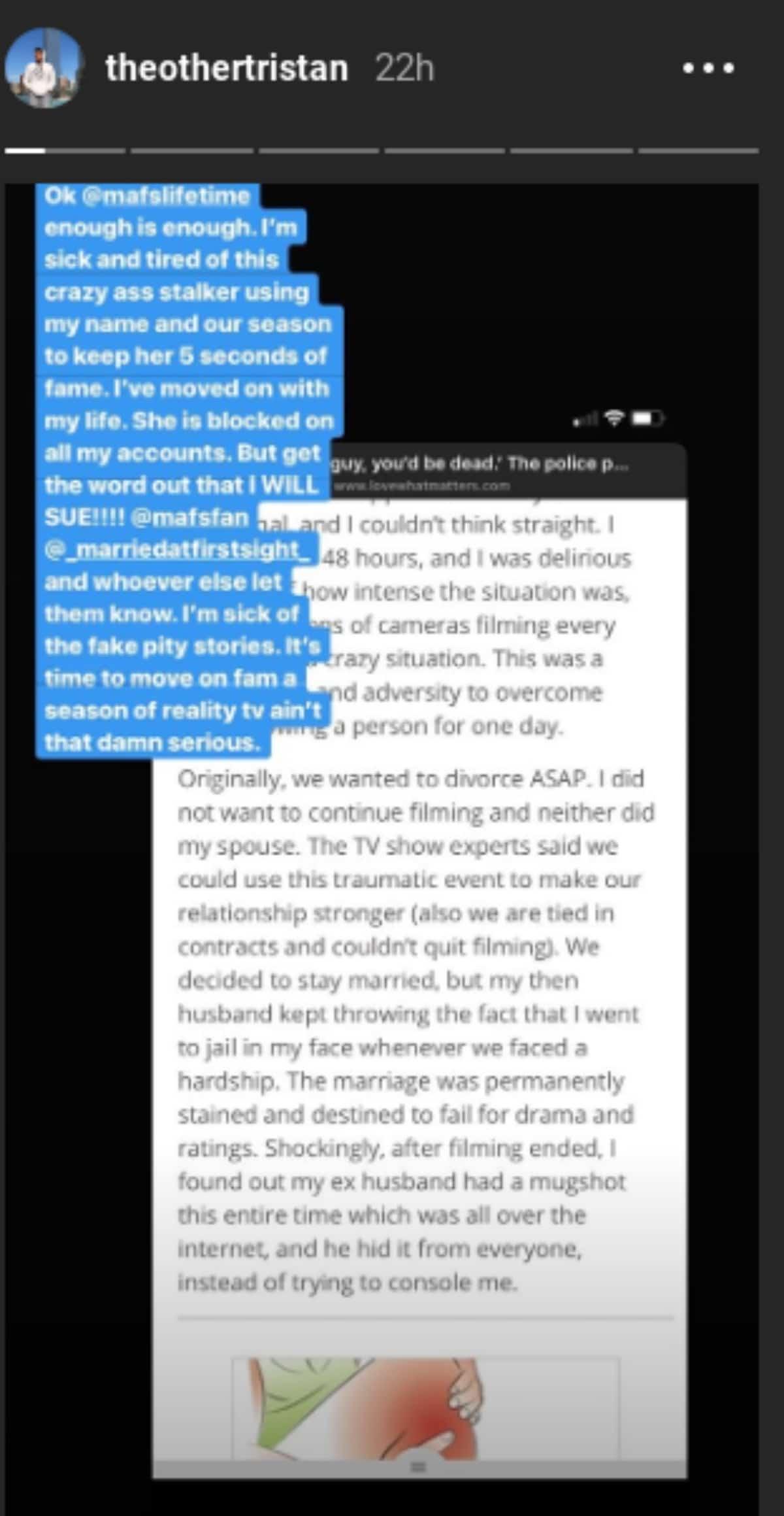 Tristan's Instagram story