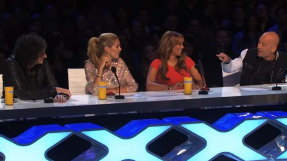 Howard Stern Howie Mandel, Mel B, and Heidi Klum judging on America's Got Talent