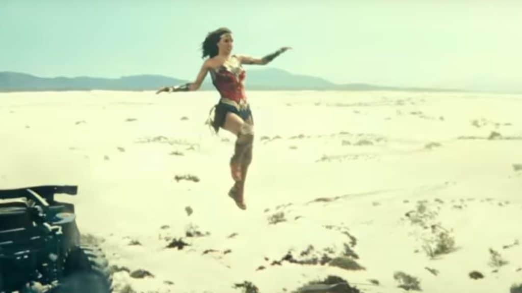Wonder Woman leaping through the air