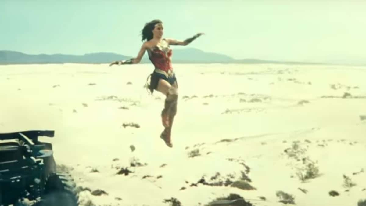 Wonder Woman leaping through the air