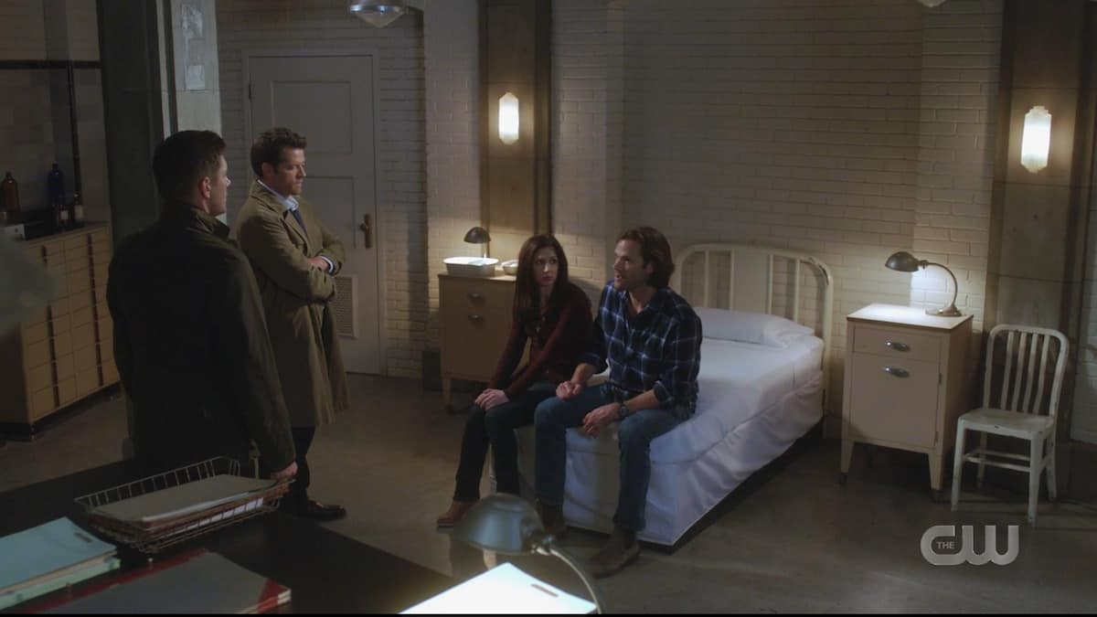 Dean, Cass, and Eileen listen to Sam's story. Pic credit: The CW