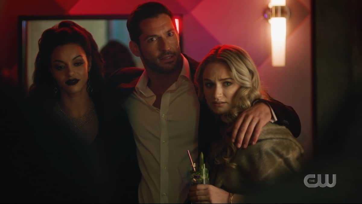 Tom Ellis makes a devilish cameo as Lucifer Morningstar. Pic credit: The CW